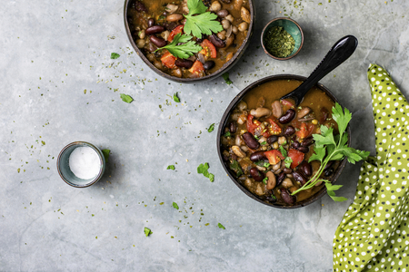 Freshly cooked garbanzo bean soup in a bowl