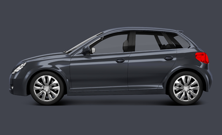 Side view of a gray hatchback in 3D Stock Photo