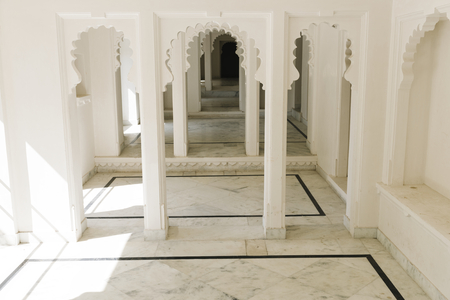 Interior design of City Palace in Udaipur Rajasthan, India Stock Photo