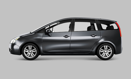 Side view of a gray minivan in 3D Stock Photo - 116609714