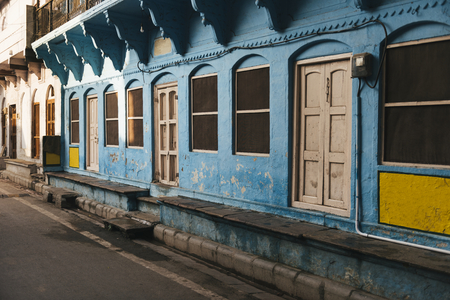 Blue building in a city of Varanasi, India