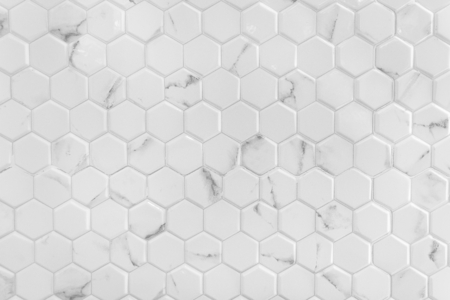 White marble wall with hexagon pattern
