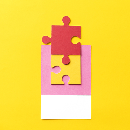 Paper craft art of jigsaw puzzle piece