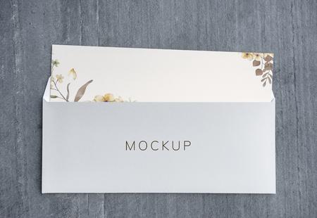 Wedding invitation with envelope mockup