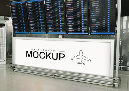 Rectangular billboard mockup under a departure and arrival display board Stockfoto