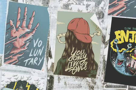 Collection of colorful and urban artwork posters