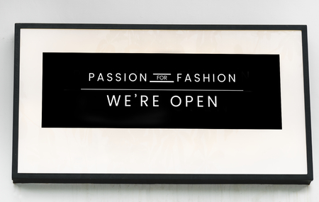 Minimal sign mockup for a fashion boutique