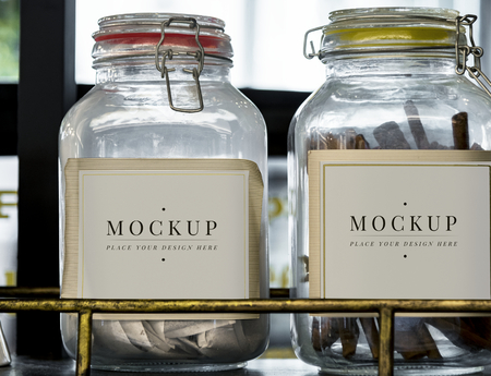 Glass jar labeling mockup template