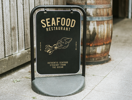 Authentic seafood restaurant board mockup Stock Photo
