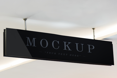 Mockup of a hanged signboard marker