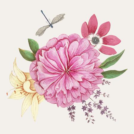 Vintage peony flower illustration vector