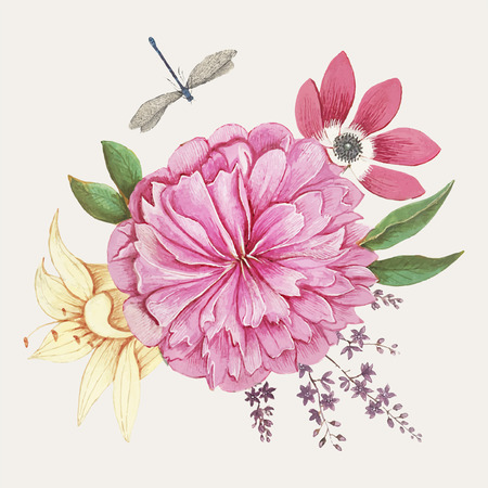 Vintage peony flower illustration vector Stok Fotoğraf - 116598549