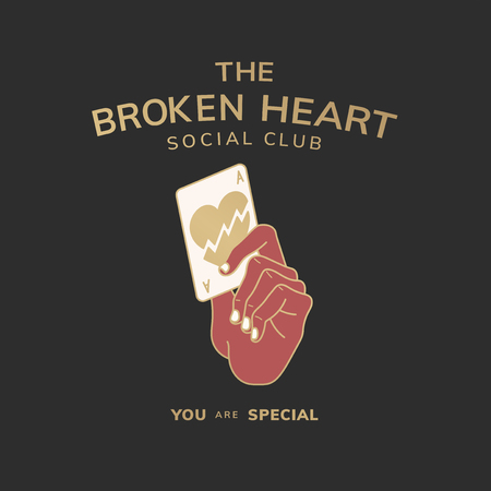 The broken heart social club logo vector Illustration