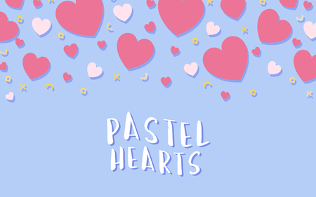 Pastel hearts background design vector