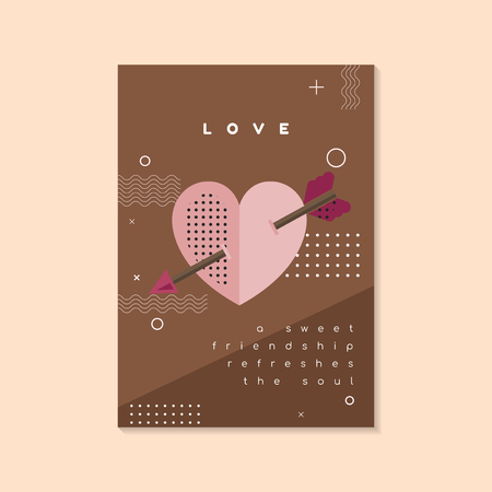 Pastel Valentine's day poster and card mockup vector Illustration
