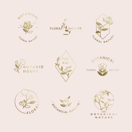 Botanical floral rose badges vector set Illustration