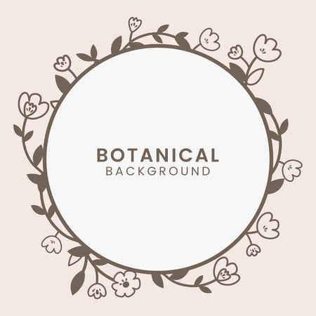 Brown botanical round framed vector Stock Vector - 125353725