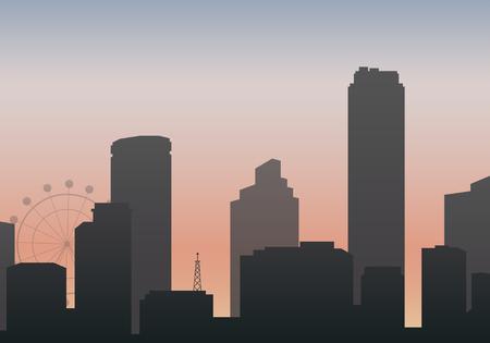 Black silhouette cityscape background vector