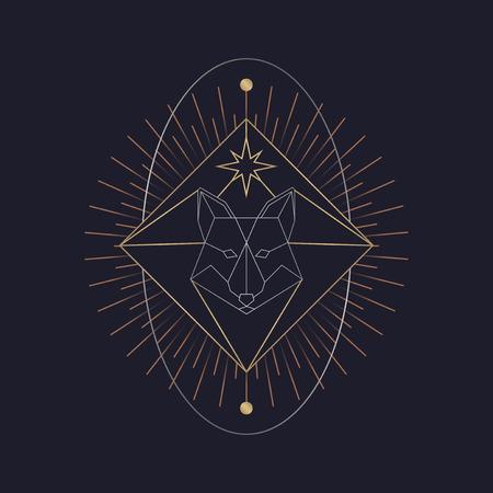 Geometric fox mystic symbol vector Illusztráció
