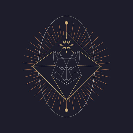 Vecteur de symbole mystique renard géométrique