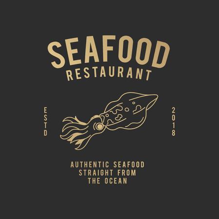 Vecteur de logo de restaurant de fruits de mer authentique