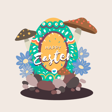 Easter eggs hunt festival vector