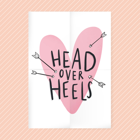 Head over heels in love text design 일러스트