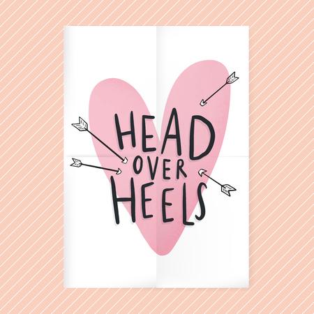 Head over heels in love text design Illustration