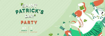 St. Patrick's Day celebration banner vector Illustration