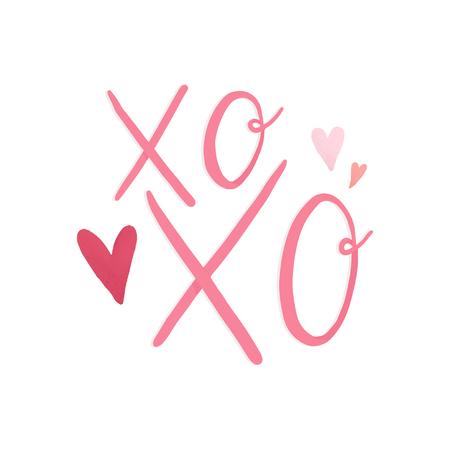 Xoxo met liefde en romantiek vector