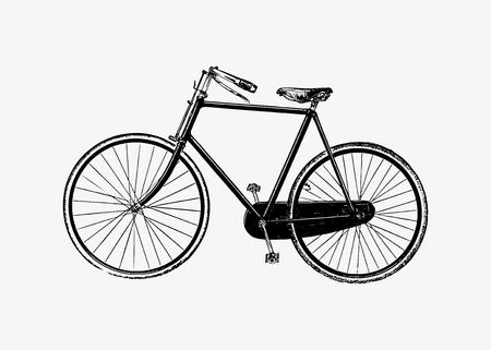Ilustración de grabado de bicicleta de dos ruedas vintage Ilustración de vector
