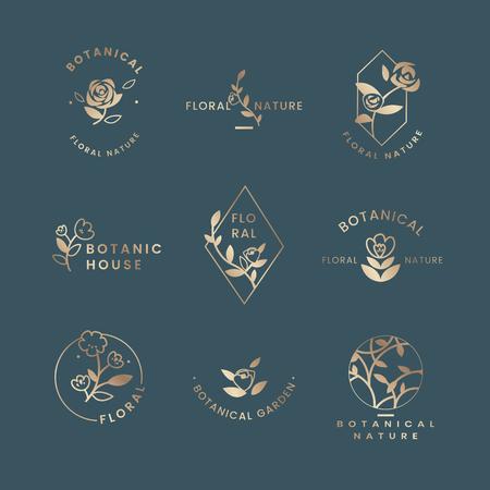 Botanical floral rose badges vector set Vettoriali