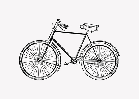 Vintage two wheel bicycle engraving vector Illustration