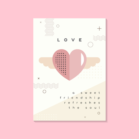 Pastel Valentine's day poster and card mockup vector 스톡 콘텐츠 - 125353801