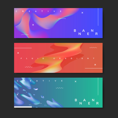 Colorful fluid gradient banner vector set Ilustração
