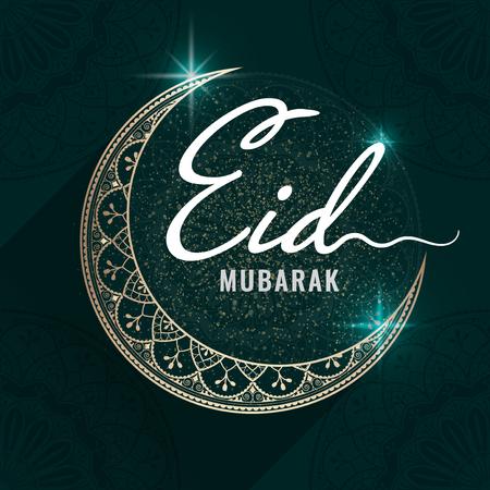 Eid Mubarak card with a crescent moon pattern background Illustration