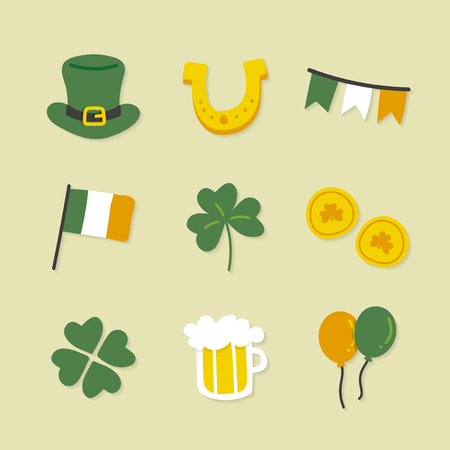 St.Patrick's day icons set vector