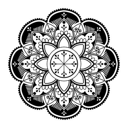 Black mandala pattern on white background Stock Illustratie