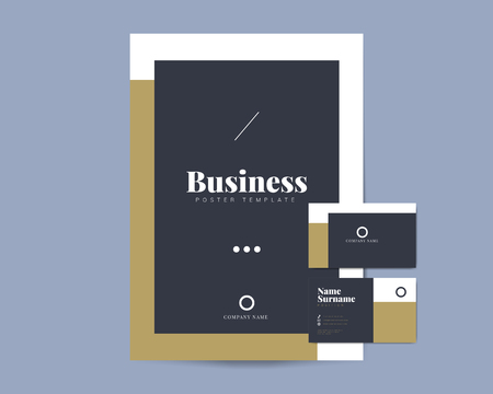 Corporate flyer and name card template vectors Çizim
