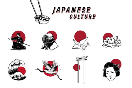 Japanese cultural & traditional symbol vector set Imagens - 125353830