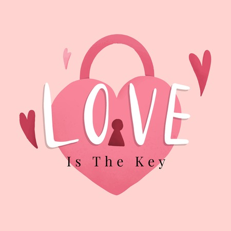 Heart shape lock romance and love concept vector  イラスト・ベクター素材
