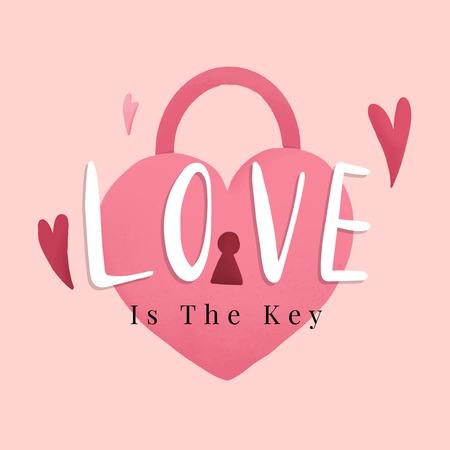 Heart shape lock romance and love concept vector Illustration