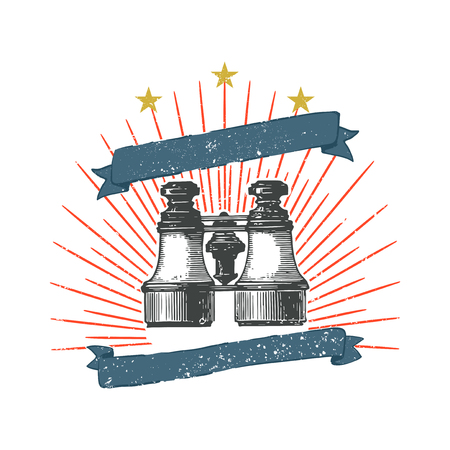 Vintage binoculars illustration badge vector Иллюстрация