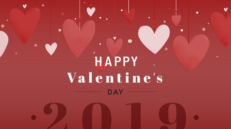 Happy Valentine's day 2019 card design vector  イラスト・ベクター素材