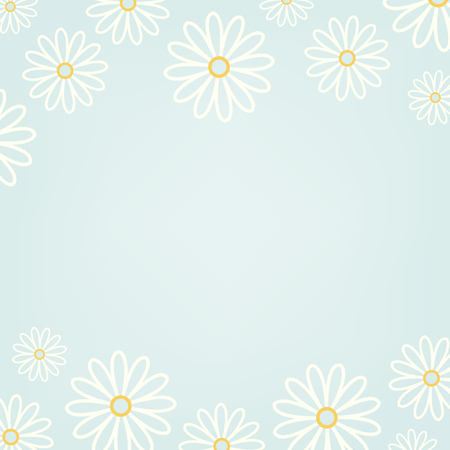 White daisy pattern with a light blue background vector