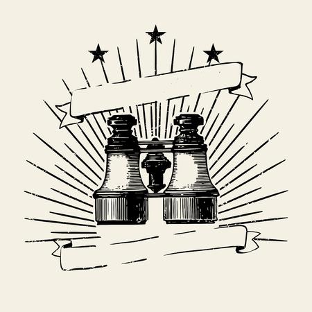 Vintage binoculars illustration badge vector 向量圖像