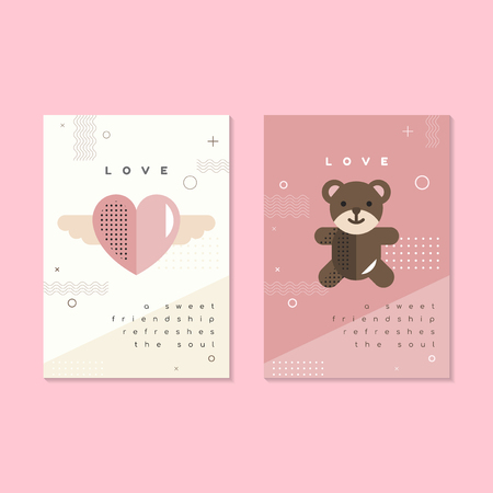 Pastel Valentine's day poster and card mockup vector Çizim