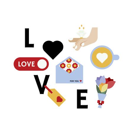 Valentine's day love icon vector set Ilustração