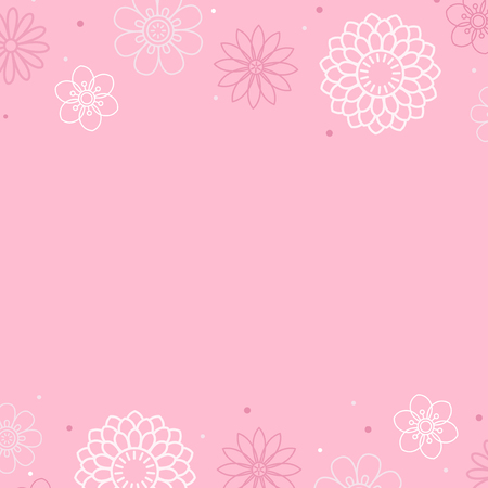 White flower pattern with a pink background vector Illustration
