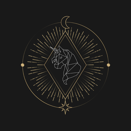 Geometric unicorn mystic symbol vector